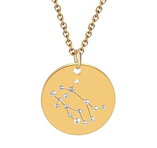 zzzddd Zodiac Constellation Necklace,Gold Gemini 12 Constellation Star Zircon Crystal Zodiac Necklace Women Statement Jewelry Horoscope Sign Necklace Gift For Women