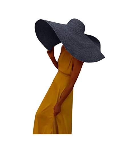 Allegorly Sonnenhut Damen Faltbar Strohhut UV Schutz Strandhut UPF 50 Elegant Sommerhut mit groß krempe für Sandstrand Urlaub 80cm (Marine)