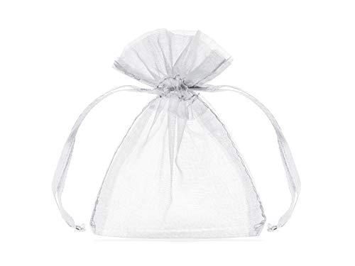 PartyDeco Organza Beutel – Organzasäckchen Gastgeschenke Tischdeko Hochzeit Pralinentüten – Weiß, 10 cm, 20 Stück