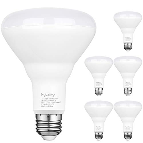 Hykolity 6 Pack Flood Light Bulb, BR30 LED Bulb for Indoor/Outdoor Downlight Recessed Can Light, Dimmable, 11W=75W, 3000K Warm White, 850lm, E26 Base, UL Listed
