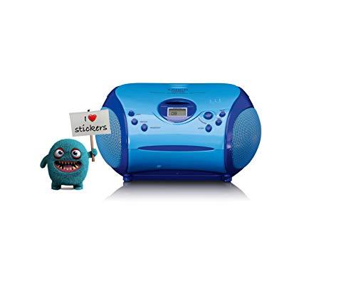 Lenco SCD-24 Kids - CD-Player für Kinder - CD-Radio - mit Aufklebern - Boombox - UKW Radiotuner - Titel Speicher - 2 x 1,5 W RMS-Leistung - Netz- und Batteriebetrieb - Blau