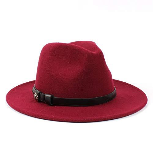 sun hat Fashion Men Women Wool Fedora Hat Dance Party Hat Casual Wild Church Hat Panama Jazz Hat beach hat (Color : Wine Red, Size : 56-58)
