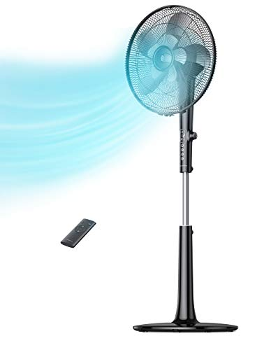 TaoTronics TT-TF010 Pedestal Fan, 16-inch Oscillating Stand with Remote, 18-Hour Timer 3 Wind Modes 12 Speed Levels Adjustable Height Electric Cooling for Home Office Bedroom Use, Large, Black