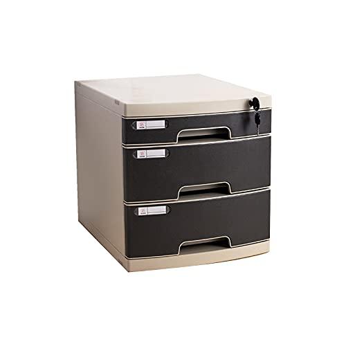 BXYXJ Archivador De Plástico con Cerradura, Caja De Cajones De Almacenamiento Multifuncional, Cajonera De Almacenamiento A4, Negro (11.6 * 14.7 * 12.4in) (Size : A)