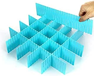 CHAHH Drawer Divider Organizers, DIY Plastic Grid, Plastic Adjustable Drawer Dividers, Household Storage | Pack of 6 | Mul...
