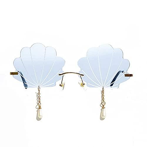 SXYB Gafas de Sol sin marcar de cáscara, Gafas de Sol de Borla de Perlas, lloviendo Colgante de Cristal, Moda Meta Vintage, Azul Irregular, para Mujeres/Hombres Gafas sin Montura