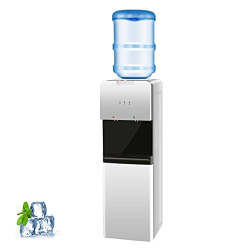 SWHOME Water Cooler Dispenser Water Cooler 5 Gallon - Top Loading, Hot and Cold Water, Child Safety Lock, Slim Design Water Dispenser for Home and Office Use, ETL Approved, White
