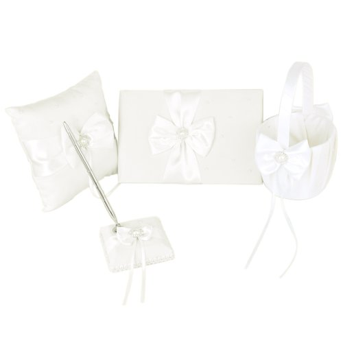 Ivory Faux Pearl Bowknot Wedding Party Guest Book + Pen + Ring Pillow + Flower Basket + Pen Stand Set