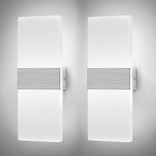 Glighone LED Wall Lights Indoor Dimmable Wall Lamp Wall Sconce Modern 12W Up Down Night Lighting Acrylic for Bedroom Living Room Corridor Silver, Cool White(2 Pack) [Energy Class A++]