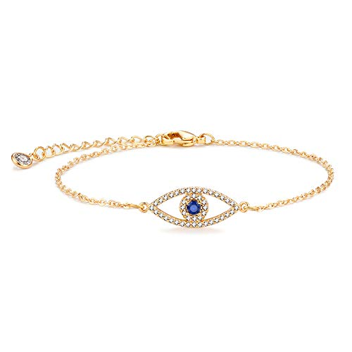 Mevecco Gold Evil Eye Bracelet,Dainty Cute Cubic Zirconia Blue Stone Protection Elegant Fatima Bracelet for Women…