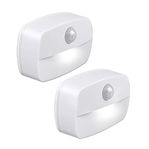 Pasillo luz de noche, [2 unidades] luz nocturna LED con sensor de movimiento para dormitorio, Luces que Funcionan con Pilas, Adecuada para Dormitorio,Baño,Inodoro,Escaleras,Cocina,Pasillo (blanco)