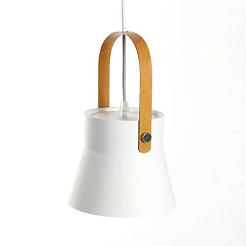 Minimalista Moderno Colgantes Lámpara de Metal Ligero Sombra Revestimiento de Madera Manija de Metal Colgando Iluminación de Techo para la Isla de la Cocina Sala de estar Comedor (Blanco)