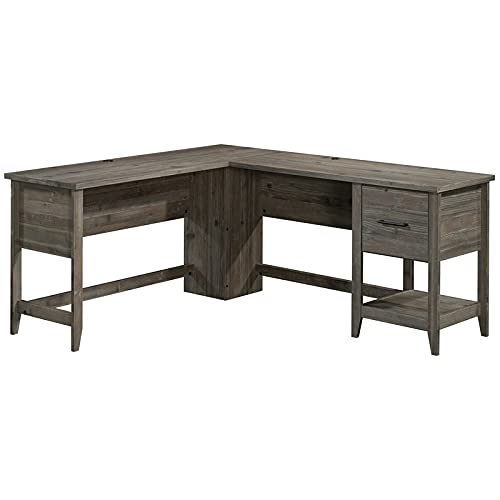 Sauder Summit Station Engineered Wood L-Shaped Home Office Desk in Pebble Pine