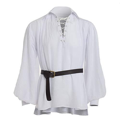 GRACEART Mittelalter Victorian Piraten-Hemd Elegant Langarmshirt Gothic Steampunk Männerhemd (Weiß, XS)