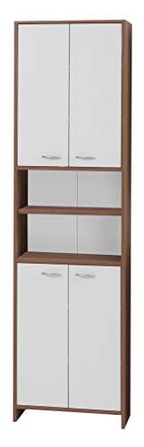 FMD Möbel 901-006 Hochschrank Madrid 6 (B/H/T) 52.5 x 194.0 x 33.0 cm, zwetschge/weiß