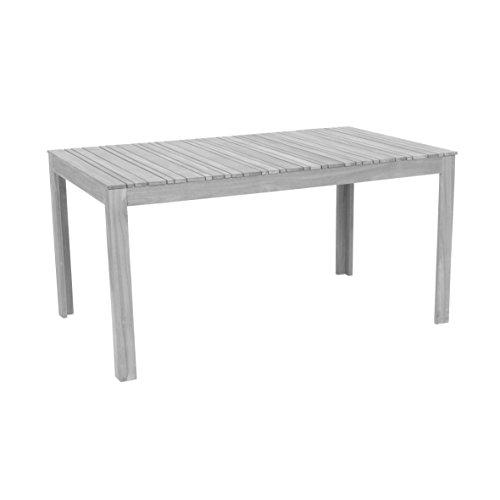 greemotion 128669 Gartentisch MAUI aus Holz-Esstisch Garten, Terrasse & Balkon-Holztisch rechteckig aus Akazie massiv-Tisch wetterfest für draußen, Grau, 150 x 75 x 90 cm