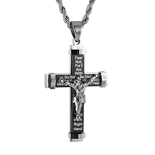 HZMAN Men's Crucifix Stainless Steel Cross Lord's Prayer Pendant Necklace with 20' 24' 28' Rope Chain