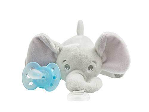 Philips Avent ultra soft Snuggle Pacifier Holder with Detachable Pacifier, Elephant, 0-6m