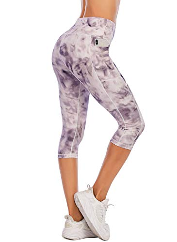 PARWIN High Waist Women Running Leggings Workout Capris with Pockets Capri Yoga Pants for Exercise Gym Athletic Fitness Light Purple-M
