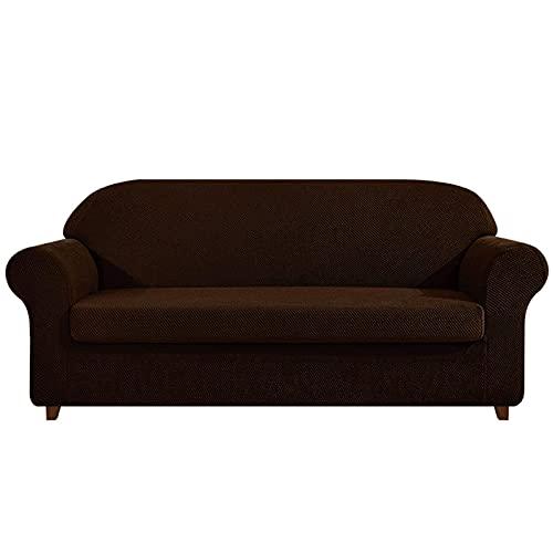 DFJU Stretch Sofa Schonbezug 2-teilig,Sofabezug mit Sitzkissenbezug Möbelschoner mit elastischem Boden Anti-Rutsch Waschbar Elasthan Jacquard Stoff Couchbezug für Kinder Haustiere 2-Sitzer-Hellblau