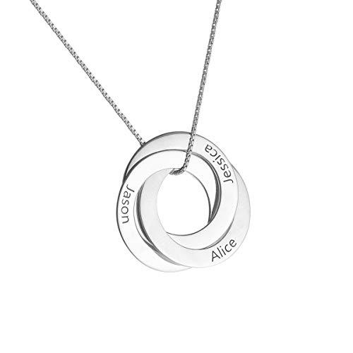HooAMI 925 Silber Personalisierte Kette Namenskette Mit 3 Namen Russische Verwobene Runde Familienkette Mit Gravur Mit Box Weiß