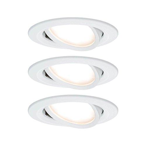 Paulmann 93485 Einbauleuchte LED Coin Nova rund 6,5W Weiß 3er-Set schwenkbar 3-Stufen-Dimmbar IP23 sprühwassergeschützt