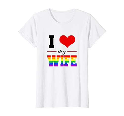 Womens I love my Wife T-shirt Lgbt Lesbian Gay Pride Rainbow
