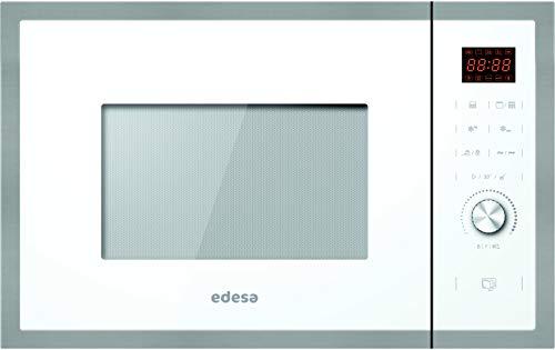 Edesa| Microondas Encastre Integrado | Modelo: EMW-2530-IG XWH | Microondas con grill | Capacidad de 25 L | 5 niveles de potencia | Acabado en cristal Negro