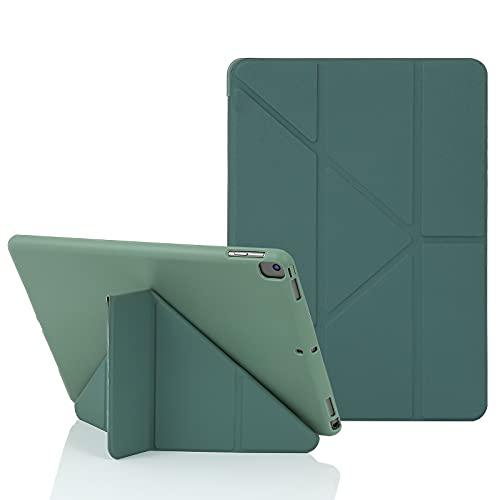 MuyDoux Funda para iPad 10,2 Pulgadas 8ª (2020) /7ª (2019) Generación, 5 en 1 Múltiples Ángulos de Visión, Auto Sueño/Estela Magnético, Cubierta Smart Carcasa Frontal de Silicona Suave(Verde Pino)