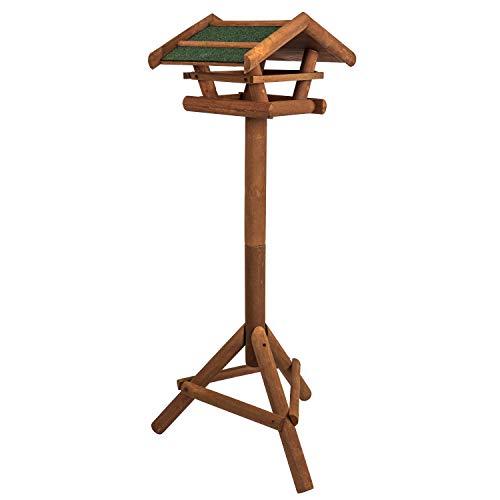 Vogelhaus aus Holz inkl. Ständer ca. 42x23x30cm |Vogelhäuschen für Vogelfutter - Futterhaus Vogelfutterstation - Schutz gegen Schnee & Regen | Futterstation, Futterstelle, Vogelfutterhaus