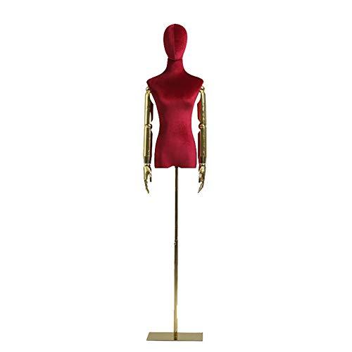 SSZY Maniqui Costura Modista Busto Torso de Cuerpo de Maniquí de Forma Femenina Roja con Brazo de Plástico, Maniquí de Torso Superior para Vestido de Novia/Camisetas, Altura Ajustable