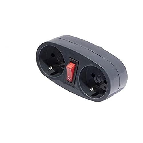 CHACON Biplite 2 x 16 A avec Interrupteur, Domino électrique