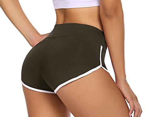 ADOME Sporthose Damen Kurz Sportshorts Enge Yogahose Mini Hotpants Jogginghose Workout Sport Fitness Gym Schwarz