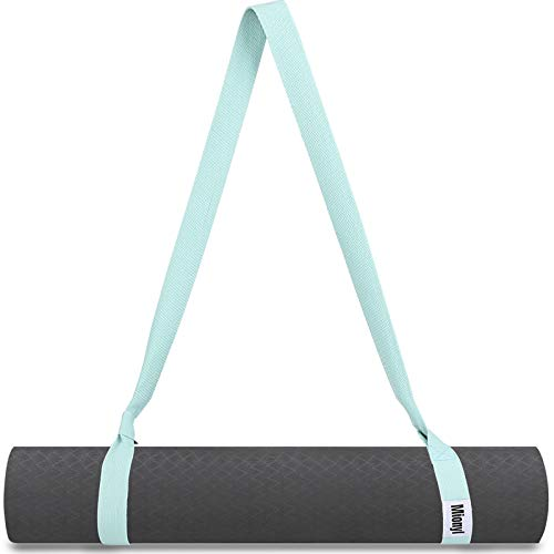Mionyl Yoga Mat Strap Sling  Yoga Mat Carrier and Holder   Adjustable Durable Cotton Yoga Strap for Carrying Mats, Double as Stretching Strap in Exercise