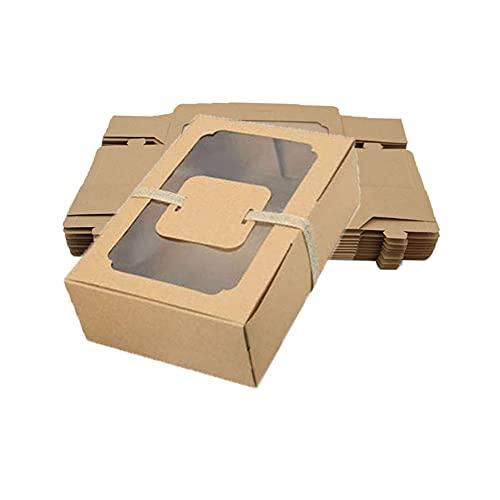 12 Piezas Caja de Papel Kraft, Caja para Tartas, Cajas para Galletas, con Ventanas Transparentes, con 12 Tarjetas de Papel y un Rollo de Cordel, para Galletas, Pan, Caramelos, Rebanadas de Pastel