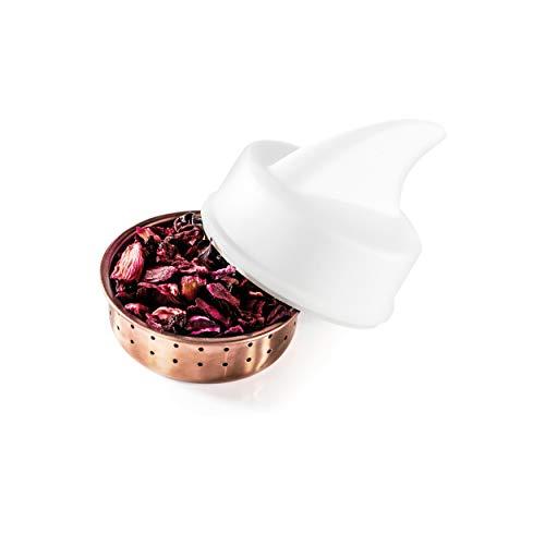 DONKEY Products Sharky Tee-Ei, Teeei mit Haiflosse, Teesieb, Teefilter, Silikon/Edelstahl, Weiß, Ø ca. 4.5 cm, 200556