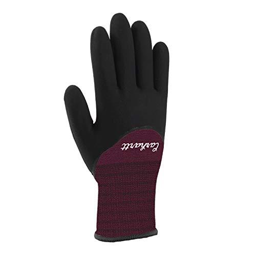 Carhartt Women's Thermal Full Coverage Nitrile Grip Glove, Deep Wine, M