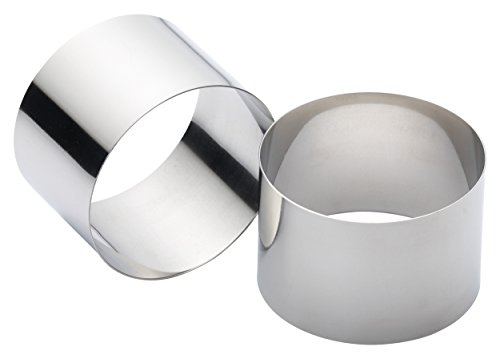 KitchenCraft Cooking Rings, Extra Deep Moulds for Rice and Potato Stacks, Cheesecakes, Fishcakes and More, Stainless Steel, 9 x 6 cm, Set of 2