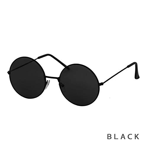 ブラックレンズラウンドサングラス【sunglassルピス】/ブラック
