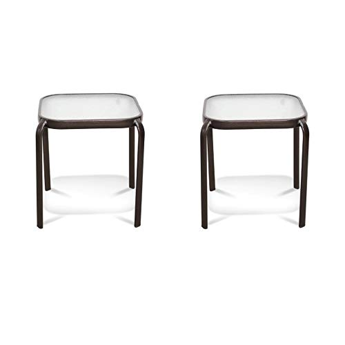 Outdoor End Table Never Rust Aluminum and Glass (2 Piece, Bronze)
