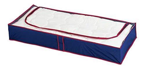 WENKO Unterbettkommode Blau-Rot, 4er Set Unterbettkommode für Kleidung
