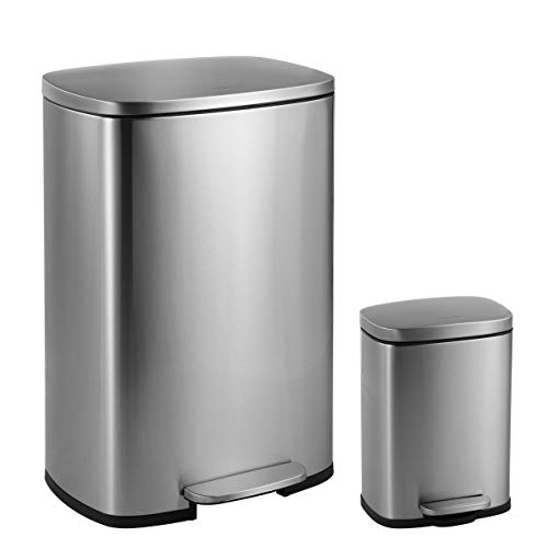happimess HPM1006A Step-Open Steel Pedal and Soft-Close Lid Free Mini Garbage Bin for Home, Office,...