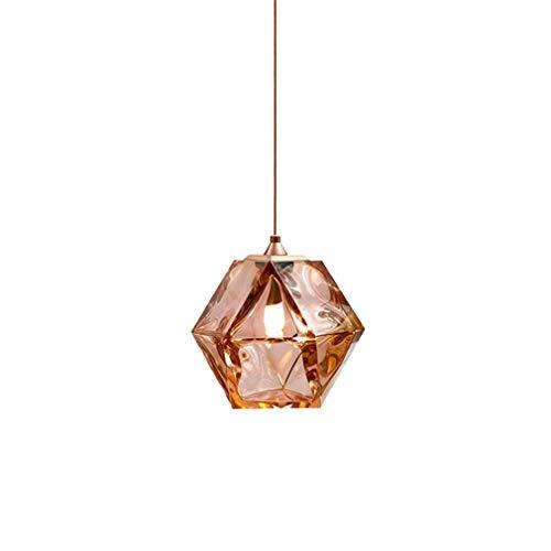 WENY Elegante Bola de Cristal Colgante de la luz de la lámpara de Cocina E14 Vintage Industrial Colgando lámpara lámpara Colgante Ajustable para la Barra de Restaurante (sin Bombilla),Marrón