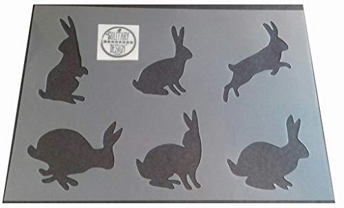 Kaninchen-Schablone, mehrere Hasen, rustikaler Stil Shabby Chic, Mylar, A4297x 210mm für Wand + Möbel