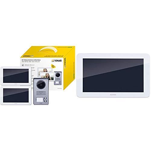 Vimar K40916 Kit Videocitofono 7' Touch Screen Bifamiliare & K40917 Videocitofono Espandibile Monitor Supplementare 7' Touch Screen e Vivavoce con Alimentatore Multispina, Bianco