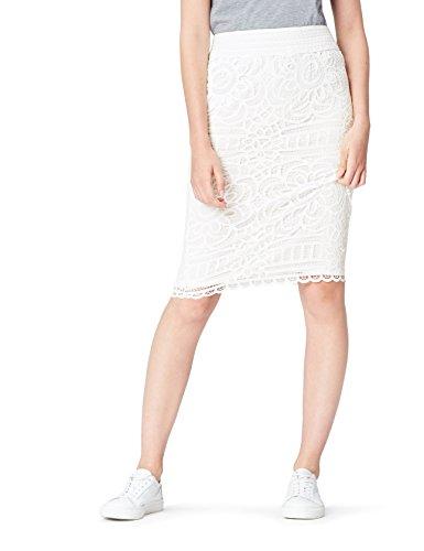 find. Rock Damen mit Spitze und elastischem Bund Weiß (Ivory), 38 (Herstellergröße: Medium)