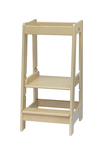 Torre de Aprendizaje Montessori para niños con altura ajustable y barra de seguridad (madera maciza) barnizada