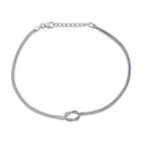 Infinity Love Knot Anklet Ankle Bracelet For Women Beaded Ball Snake Chain 925 Sterling Silver Adjustable 9 To 10 Inch