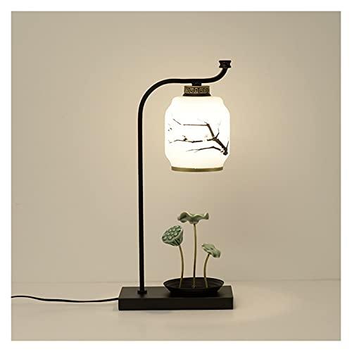 YIFEI2013-SHOP Lámpara de Mesa Lámpara de Mesa rústica con Hoja de Sombra de Cristal Lámparas de...