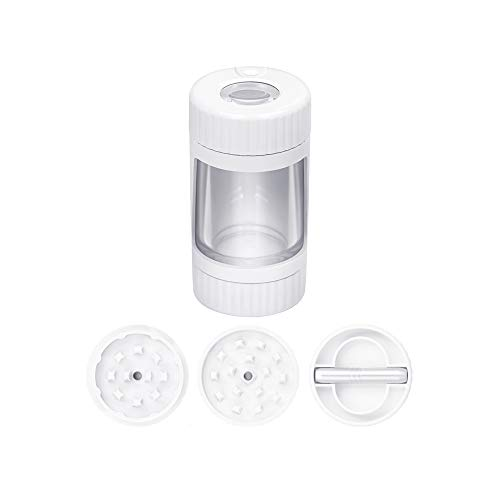 Light-Up LED Plastic Glass Air Tight Storage Jars Spice Herb Grinder Magnifying Jar with Grinder Magnifying Viewing Jar…